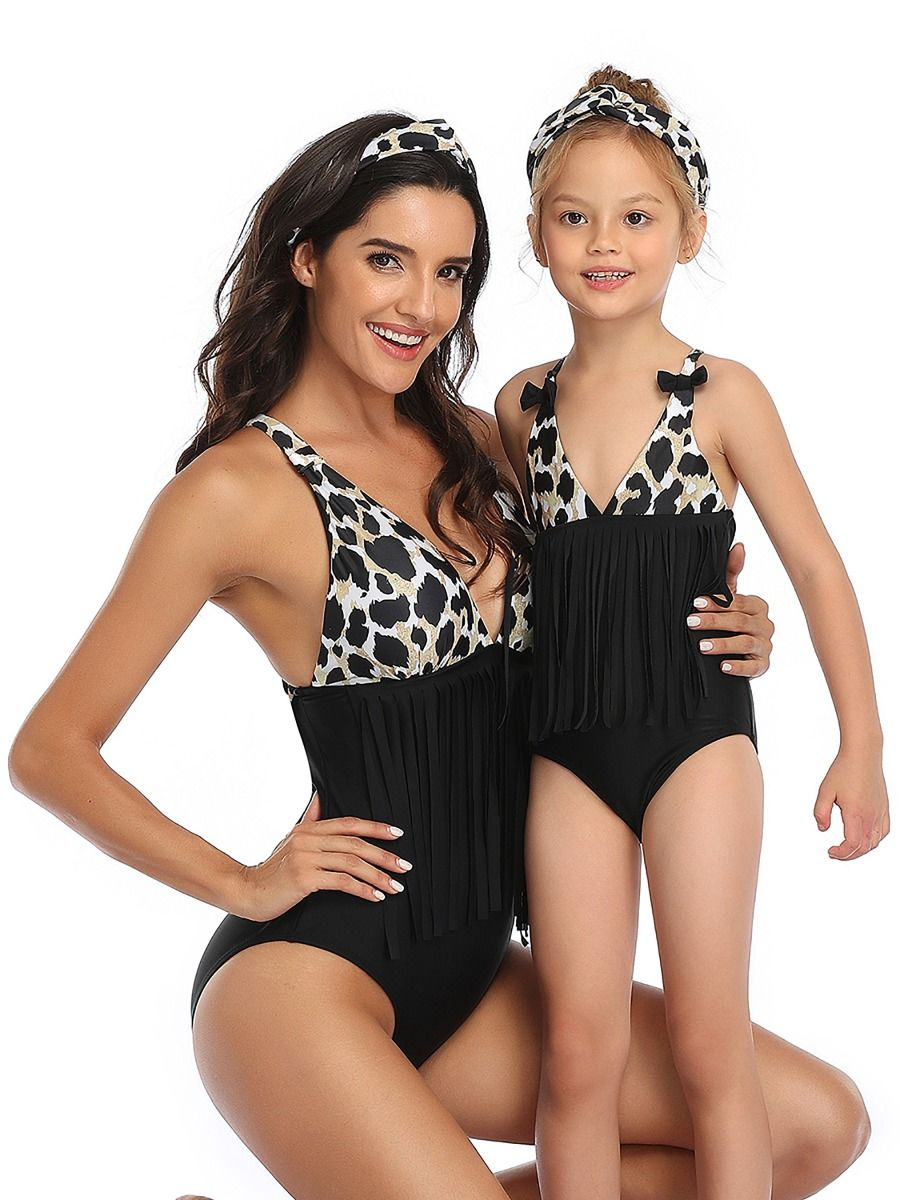 Mommy and Me Fashion Tassel Trim Bathing Suit Wholesale
