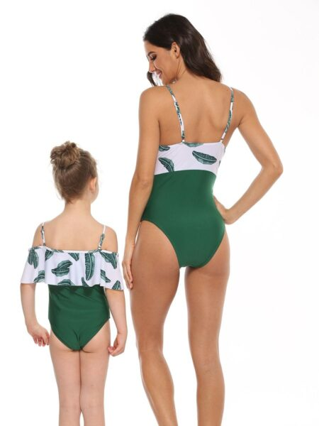 Mom and Me Leaf Print One Piece Swimsuit Nylon, Polyester, High Summer, Wholesale Family Matching 2