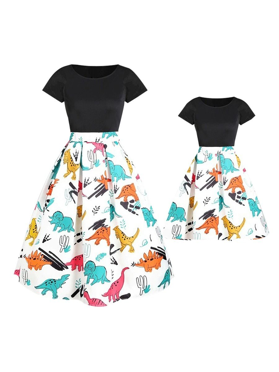 Mom and Me Dinosaurs Summer Dress Cotton Blend, High Summer, Wholesale Family Matching