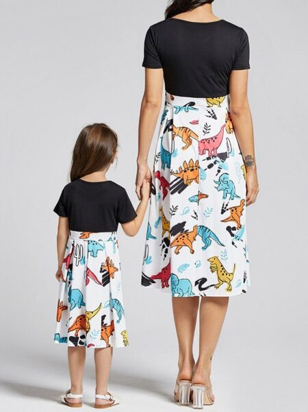 Mom and Me Dinosaurs Summer Dress Cotton Blend, High Summer, Wholesale Family Matching 2