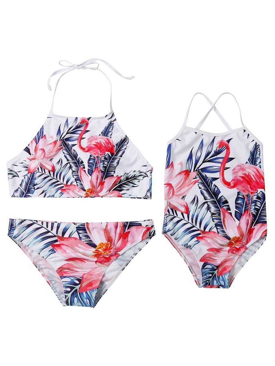 Mom and Daughter Flamingo Bathingsuit Swimwear Wholesale