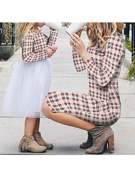Mommy and Me Plaid Dress for Spring, 2-6Years, Adult, Cotton Blend, Mesh, Polyester, Wholesale 2