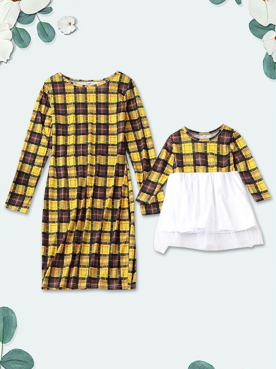 Mommy and Me Plaid Dress for Spring, 2-6Years, Adult, Cotton Blend, Mesh, Polyester, Wholesale