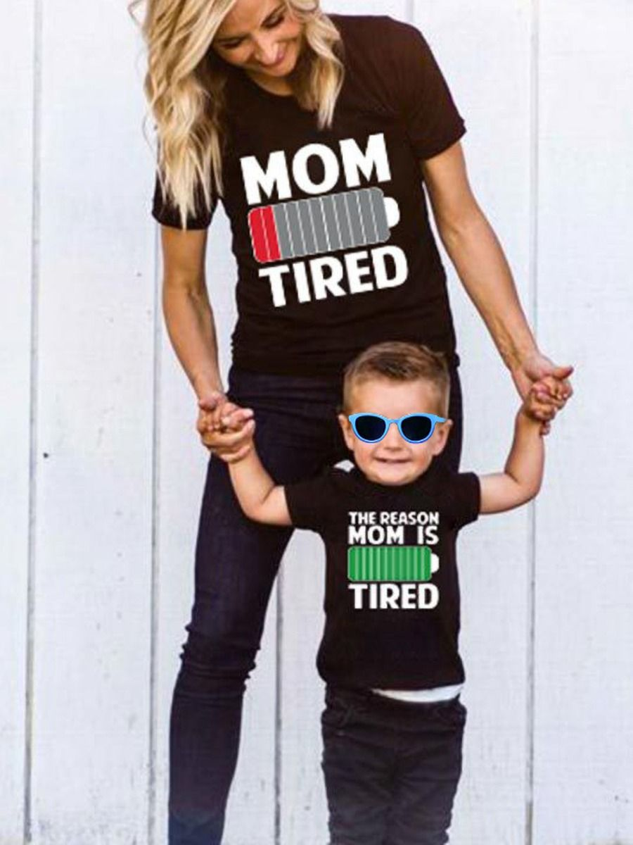 Mommy and Me MOM IS TIRED T-shirt 6-24Months, 2-6Years, 5-10Years, Adult, High Summer, Wholesale