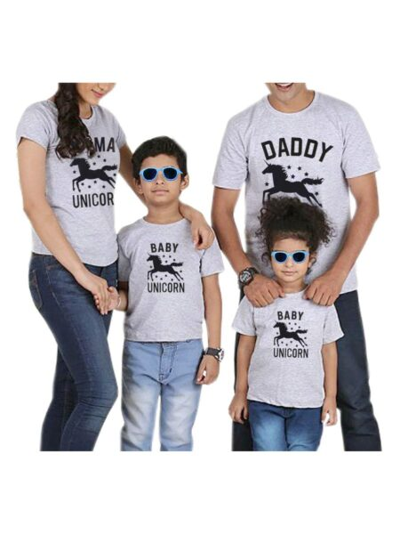 Family Unicorn Gray T-shirt 1-6Years, 5-10Years, Adult, Cotton, Spandex, High Summer,Wholesale 2