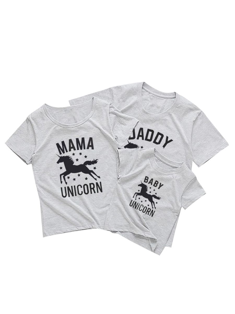 Family Unicorn Gray T-shirt 1-6Years, 5-10Years, Adult, Cotton, Spandex, High Summer,Wholesale