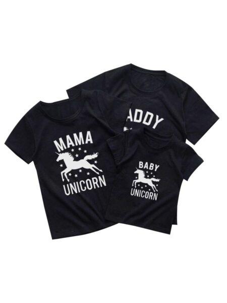 Family Unicorn Black T-shirt Wholesale Family 1-5Years, 5-10Years, Cotton, Spandex, High Summer, Matching 2