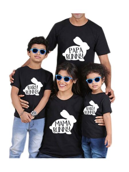 Family Black T-shirt Wholesale Family 1-6Years, 5-10Years, Cotton, Spandex, High Summer, Matching 2