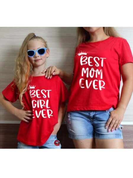Mom and Me Best Mom Baby Girl Ever Gray T-shirt 1-5Years, 5-10Years, Cotton Blend, Spandex, High Summer, Wholesale Family Matching 2