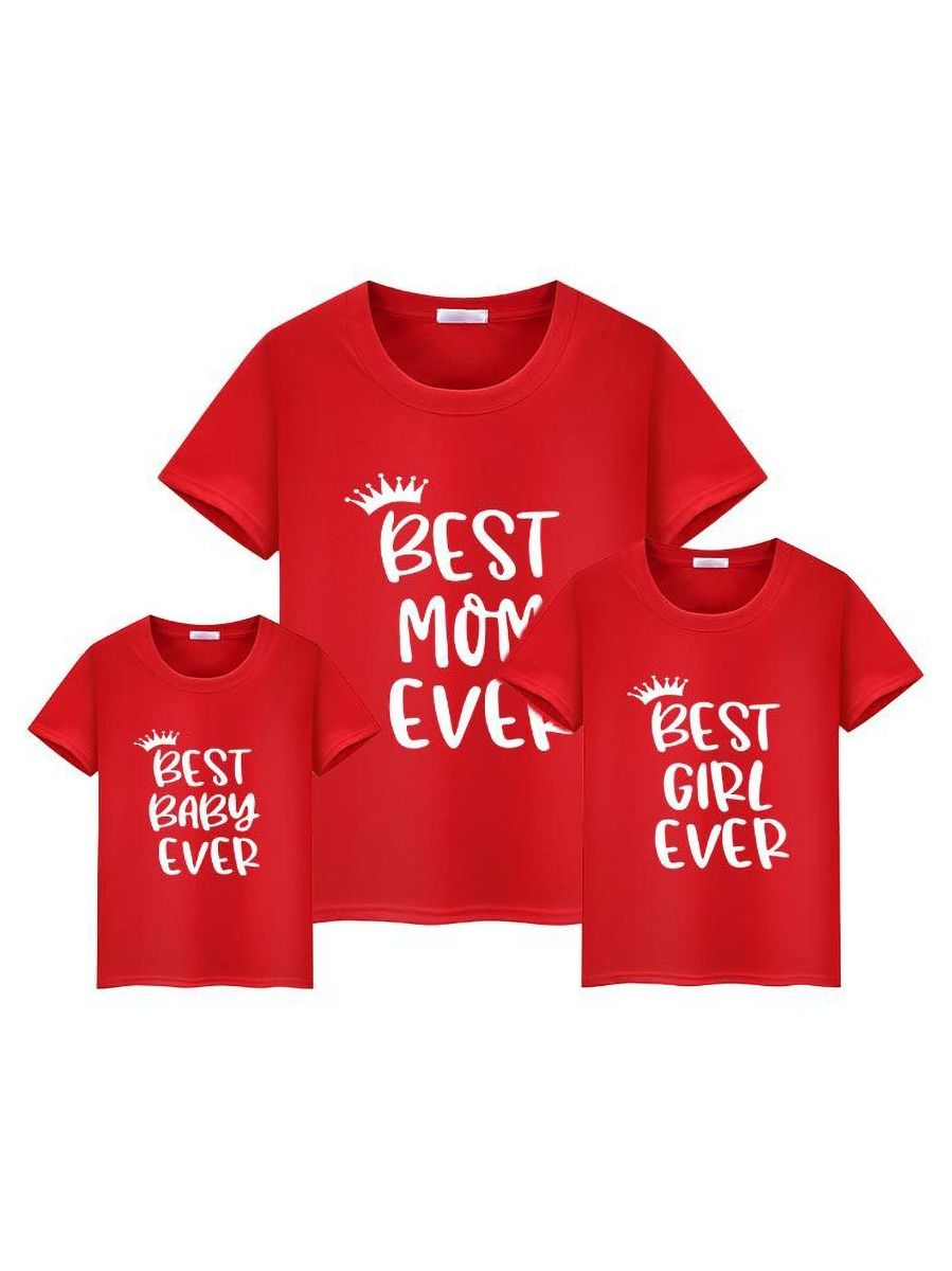 Mom and Me Best Mom Baby Girl Ever Gray T-shirt 1-5Years, 5-10Years, Cotton Blend, Spandex, High Summer, Wholesale Family Matching