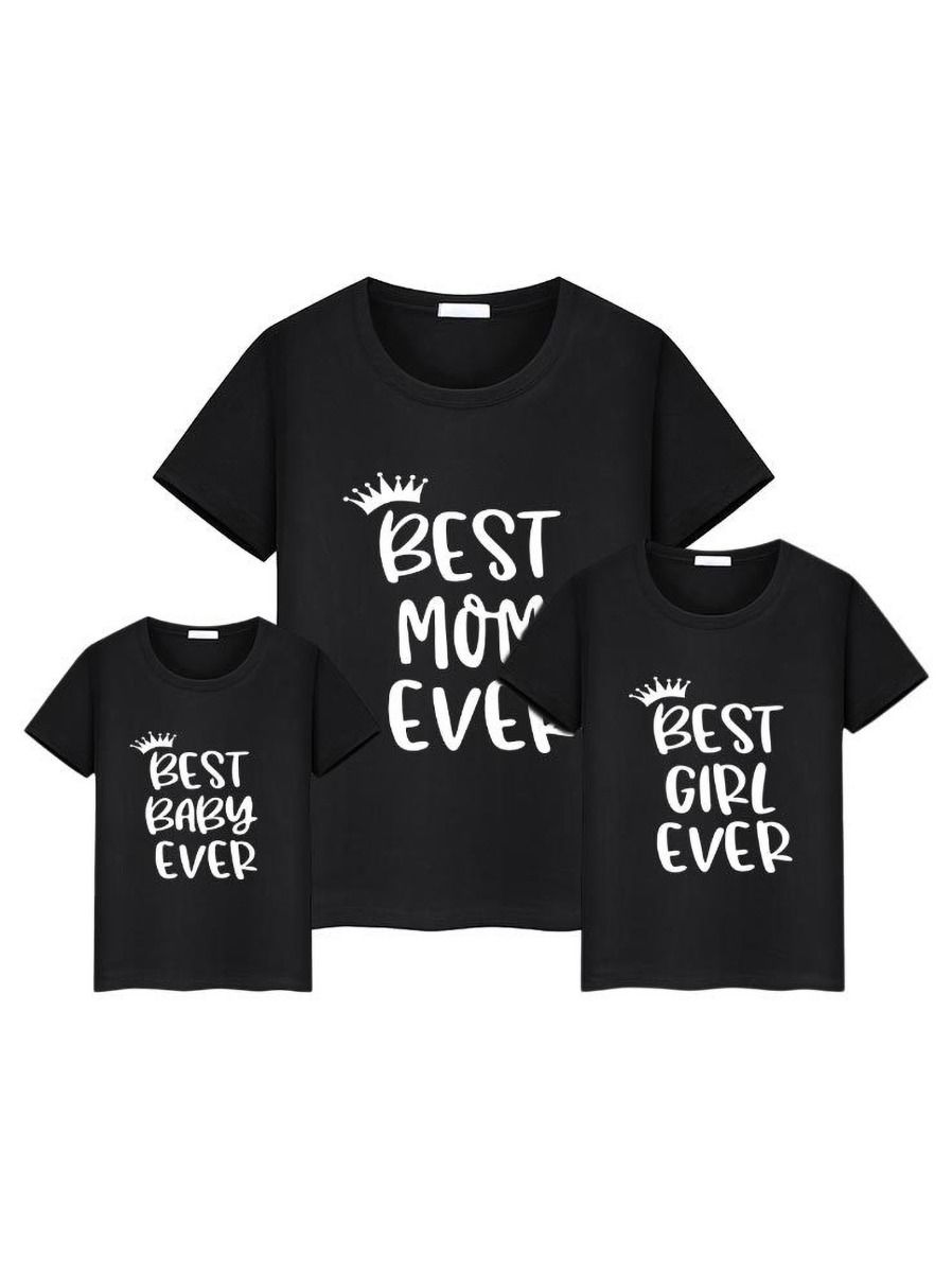 Mom and Me Best Mom Baby Girl Ever Black T-shirt Wholesale