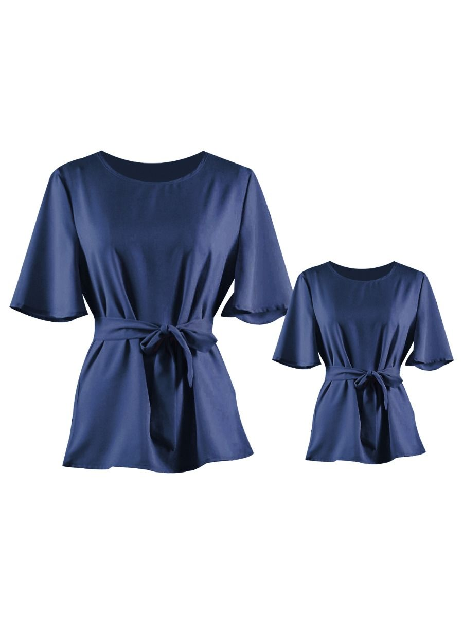Mommy and Me Stylish Flare Sleeve Belted Blouse Top 1-9Years, Chiffon, Polyester, Spring Autumn, Wholesale