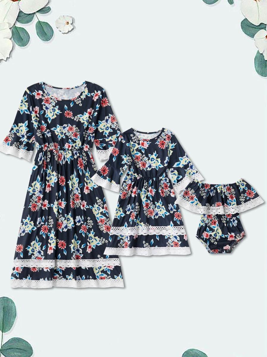 Mom and Daughter Flower Lace Patchwork Dress Bodysuit Cotton, Polyester, Cotton, Polyester, Wholesale Family Matching