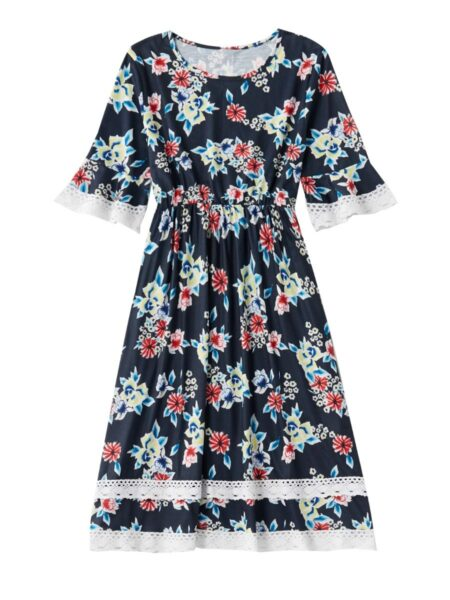 Mom and Daughter Flower Lace Patchwork Dress Bodysuit Cotton, Polyester, Cotton, Polyester, Wholesale Family Matching 2