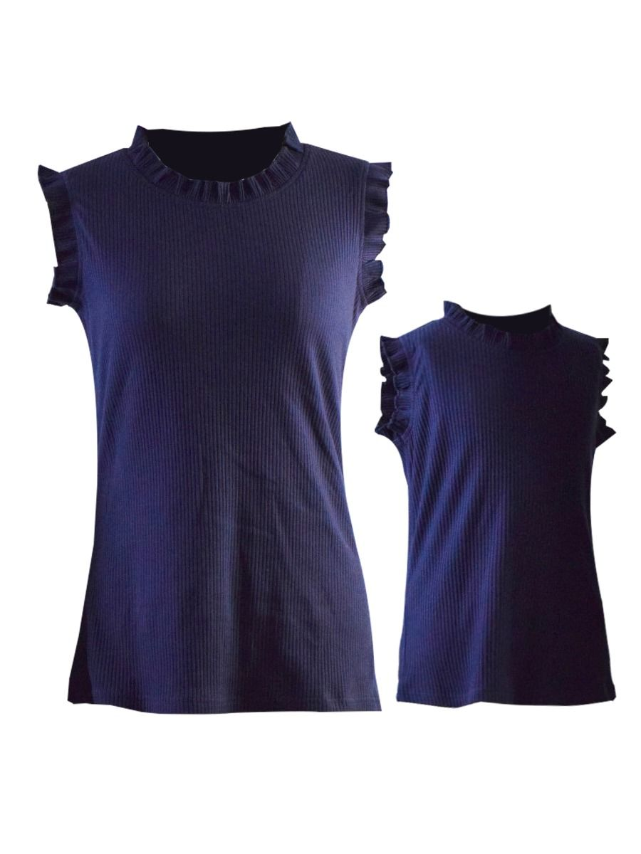 Mom and Daughter Sleeveless Ribbed Top 1-9Years,Cotton Blend, Spring Summer, Wholesale