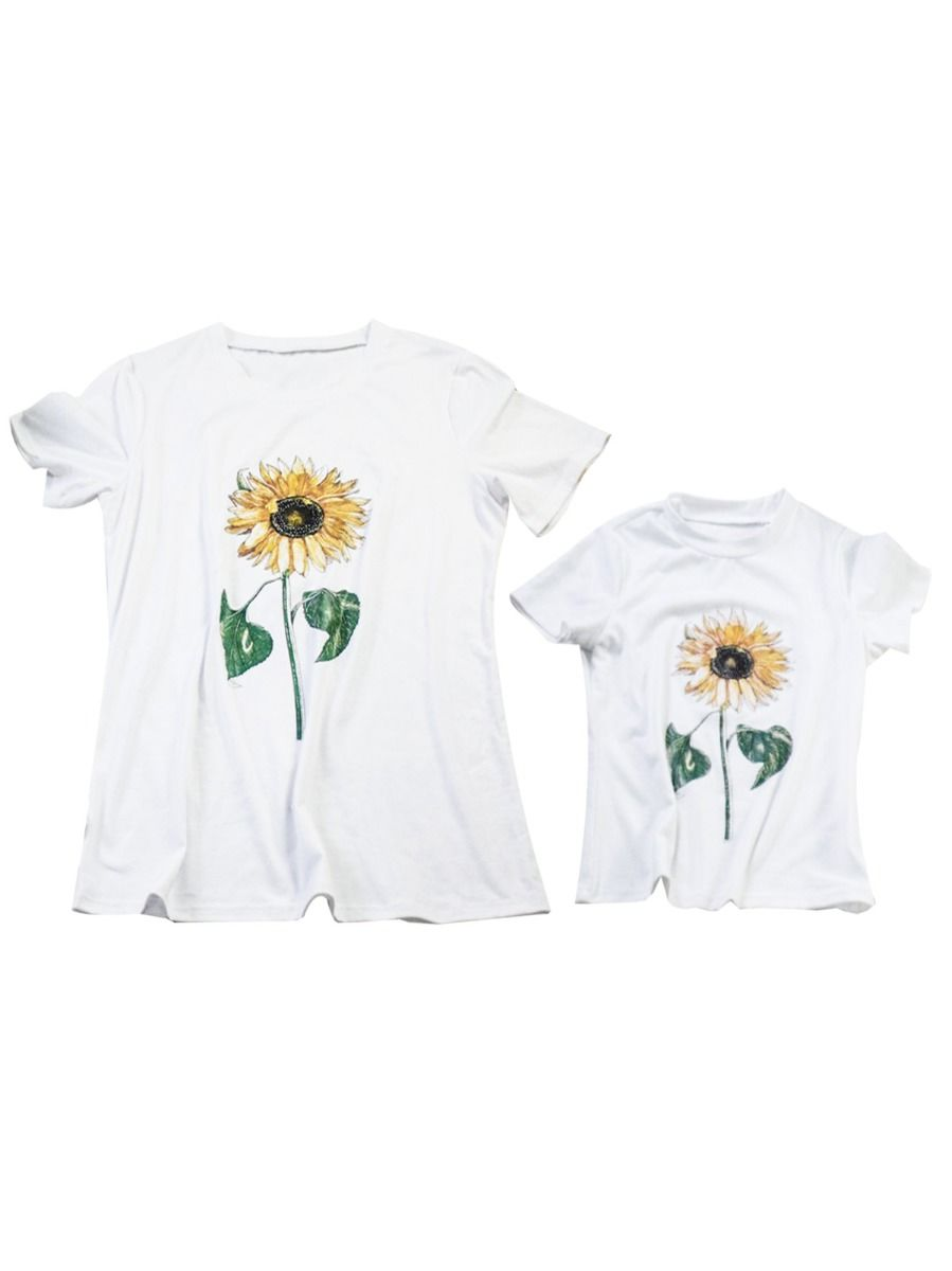 Mommy and Me Sunflower T-shirt 1-9Years, Cotton Blend, Polyester, Spandex, High Summer, Wholesale