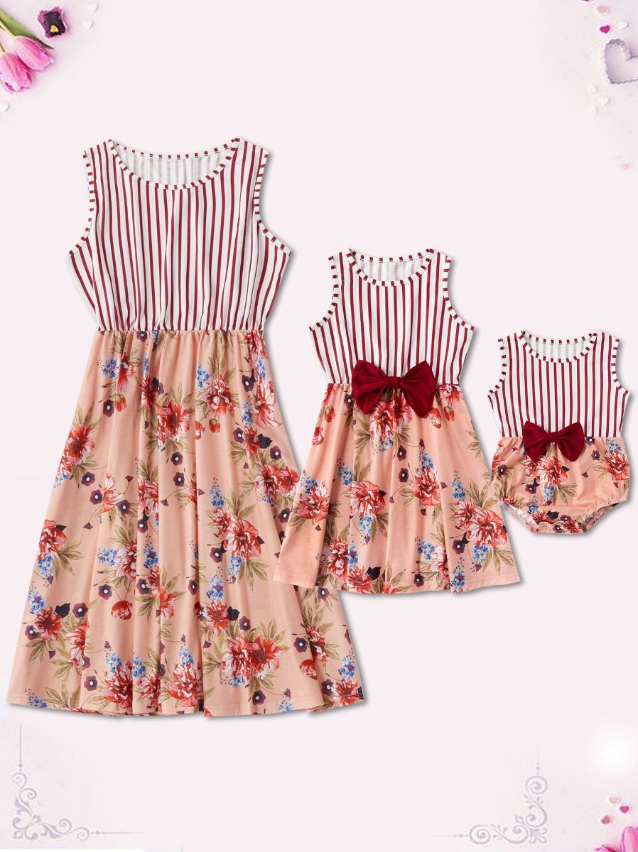 Mom and Daughter Flower Sleeveless Dress Bodysuit Cotton Blend, High Summer, Wholesale Family Matching