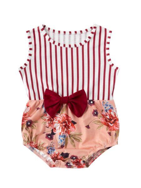 Mom and Daughter Flower Sleeveless Dress Bodysuit Cotton Blend, High Summer, Wholesale Family Matching 2