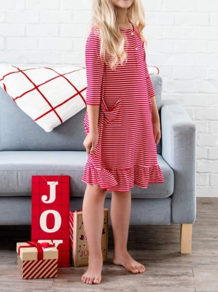 Mommy and Me Casual Ruffle Hem Dress 1-9Years, Polyester, High Summer, Wholesale 2