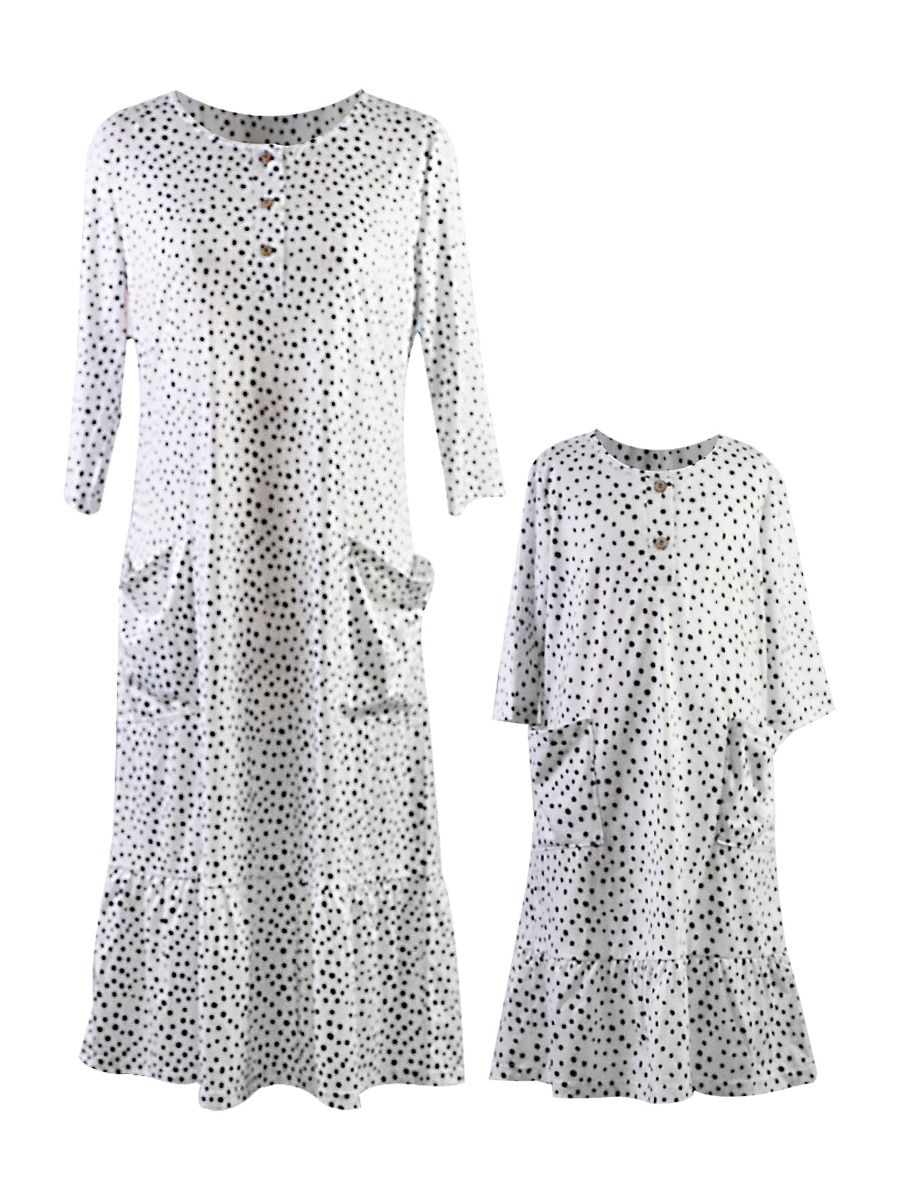 Mommy and Me Casual Ruffle Hem Dress 1-9Years, Polyester, Spandex, High Summer, Wholesale