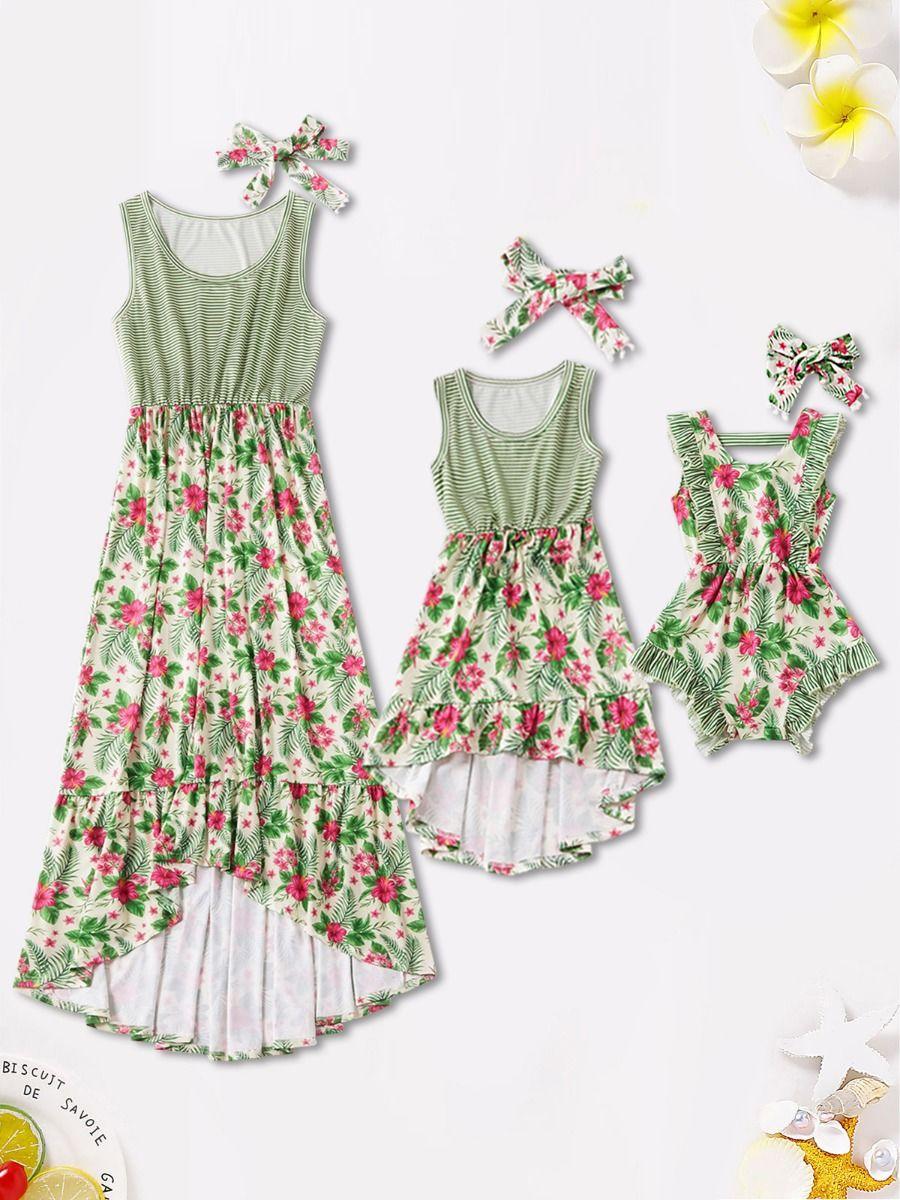 Mom And Daughter Floral Print Green Dress Bodysuit Cotton Blend, Milk Fiber, High Summer, Wholesale