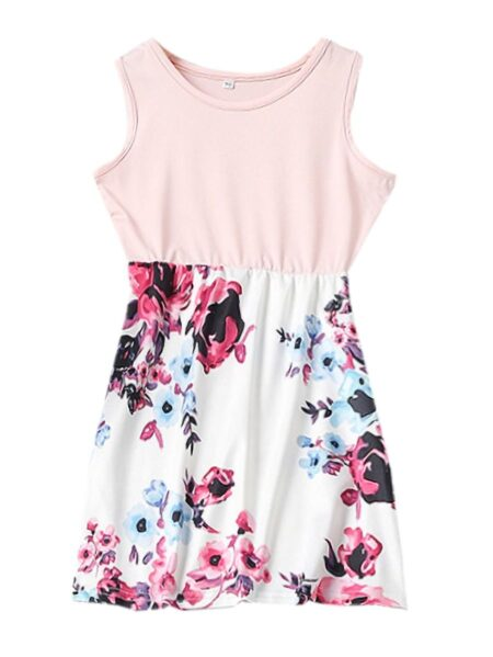Family Matching Mom And Daugther Floral Print Tank Dress Pink Flower, Printed High Summer Wholesale 2
