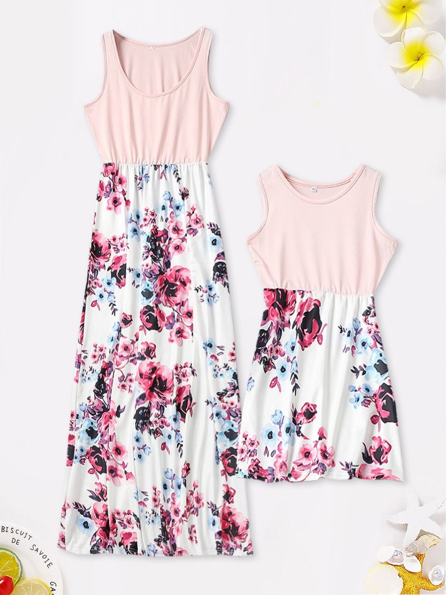 Family Matching Mom And Daugther Floral Print Tank Dress Pink Flower, Printed High Summer Wholesale