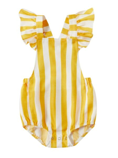 Mom And Daughter Stripe Cami Dress Bodysuit Yellow Wholesale Family Cotton Blend High Summer  Matching 2