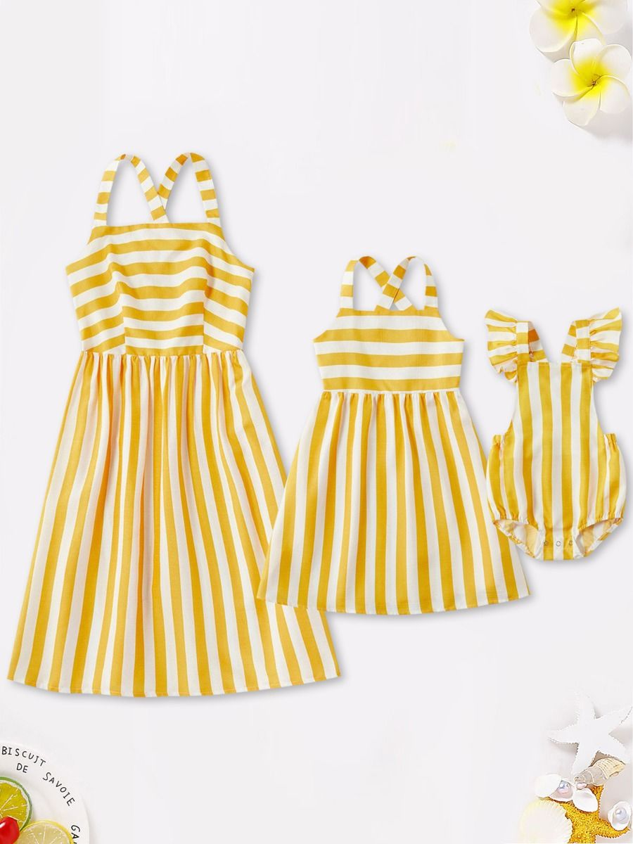 Mom And Daughter Stripe Cami Dress Bodysuit Yellow Wholesale Family Cotton Blend High Summer  Matching