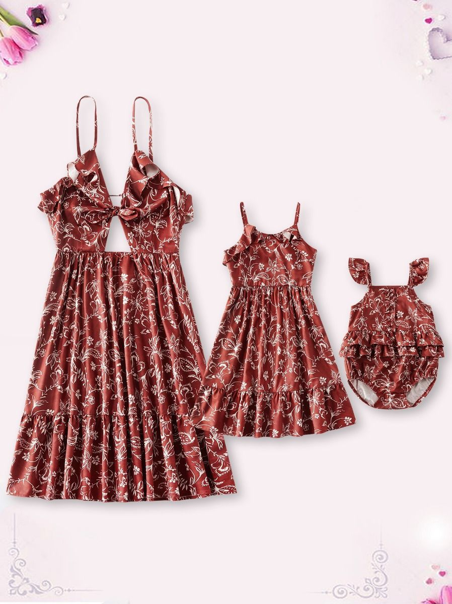 Mom And Daughter Floral Cami Dress Bodysuit Red Wholesale Family Cotton Blend High Summer Matching