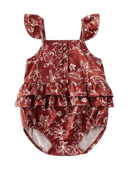 Mom And Daughter Floral Cami Dress Bodysuit Red Wholesale Family Cotton Blend High Summer Matching 2