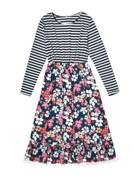 Mother And Daughter Stripe Floral Pom Pom Hem Dress Wholesale Family Matching FAMILY MATCHING 2021-09-17