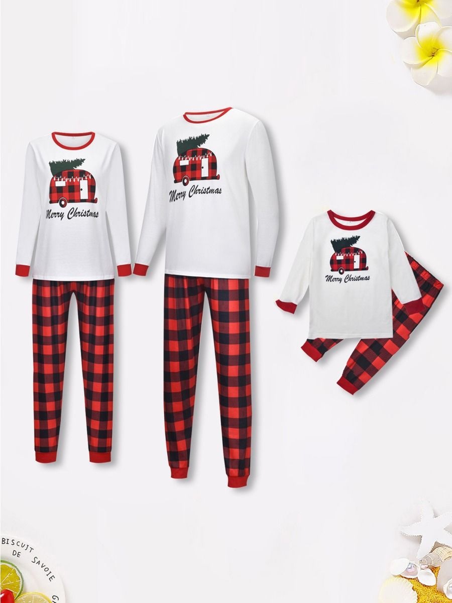 Family Matching Merry Christmas House Set Top & Plaid Trousers Wholesale Family Matching FAMILY MATCHING 2021-09-17