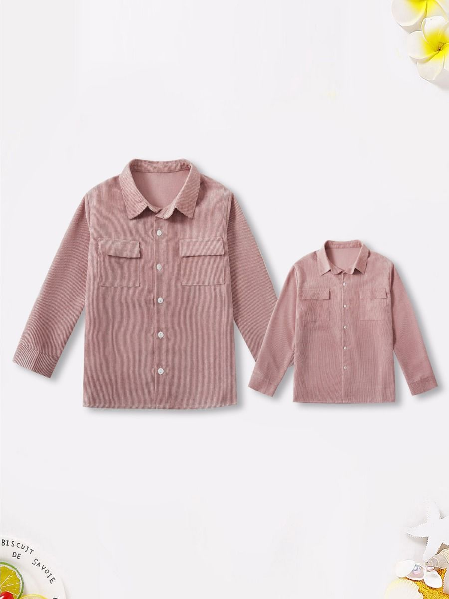 Mom And Me Corduroy Pink Shirt Wholesale FAMILY MATCHING 2021-09-17