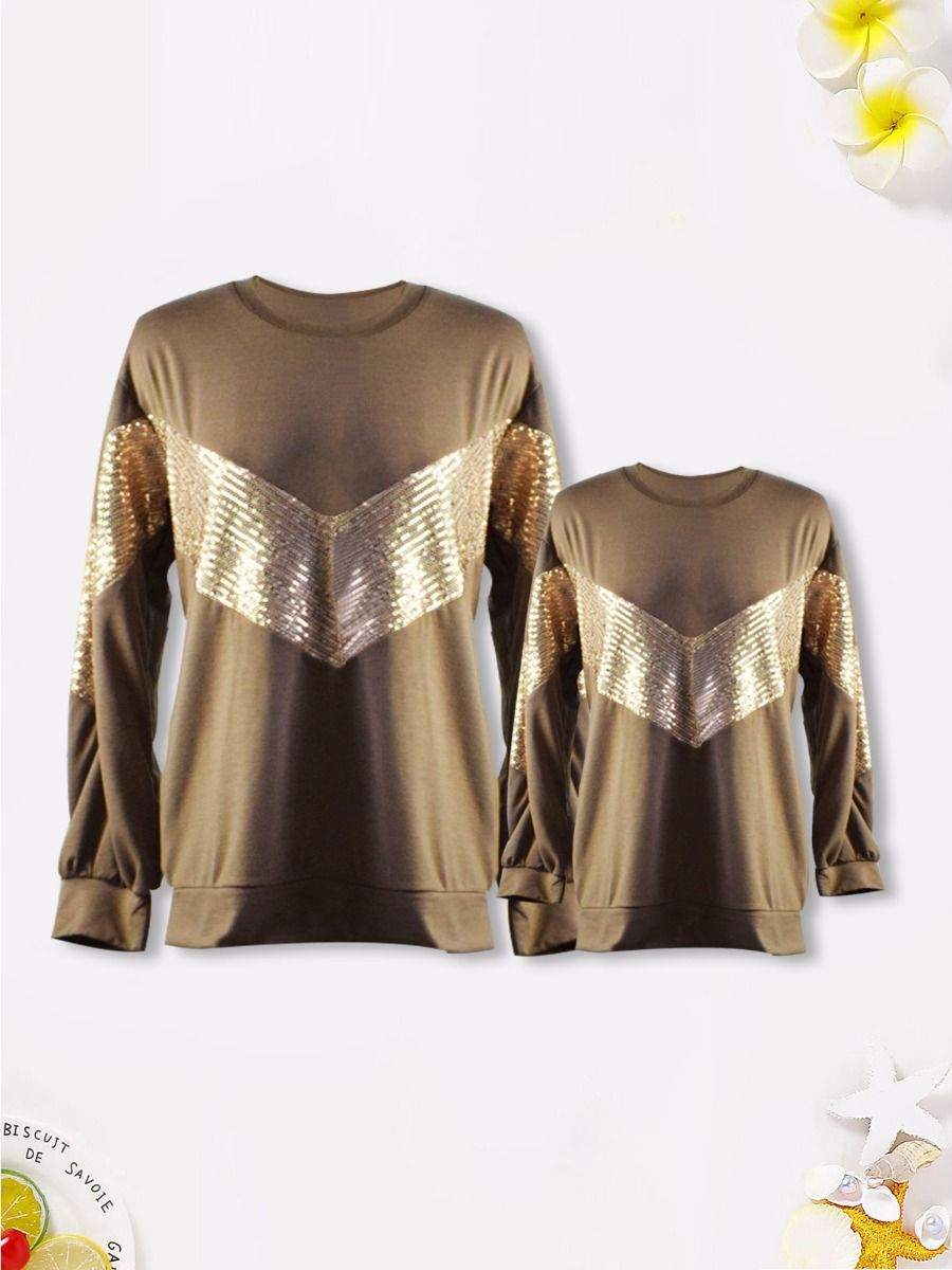 Mother And Daughter Sequins Patchwork T-Shirt Wholesale