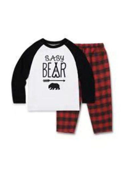 Family Matching Christmas Loungewear Set Bear & Arrow Top Matching Plaid Pants Wholesale Family Matching 2