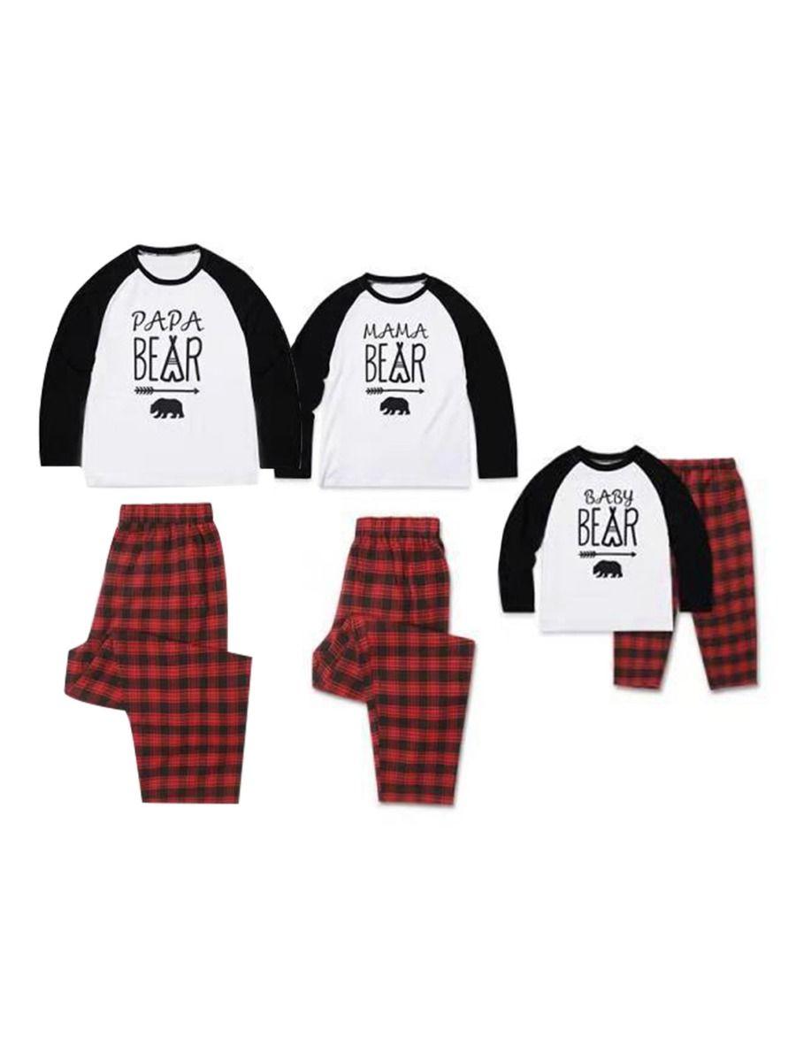 Family Matching Christmas Loungewear Set Bear & Arrow Top Matching Plaid Pants Wholesale Family Matching