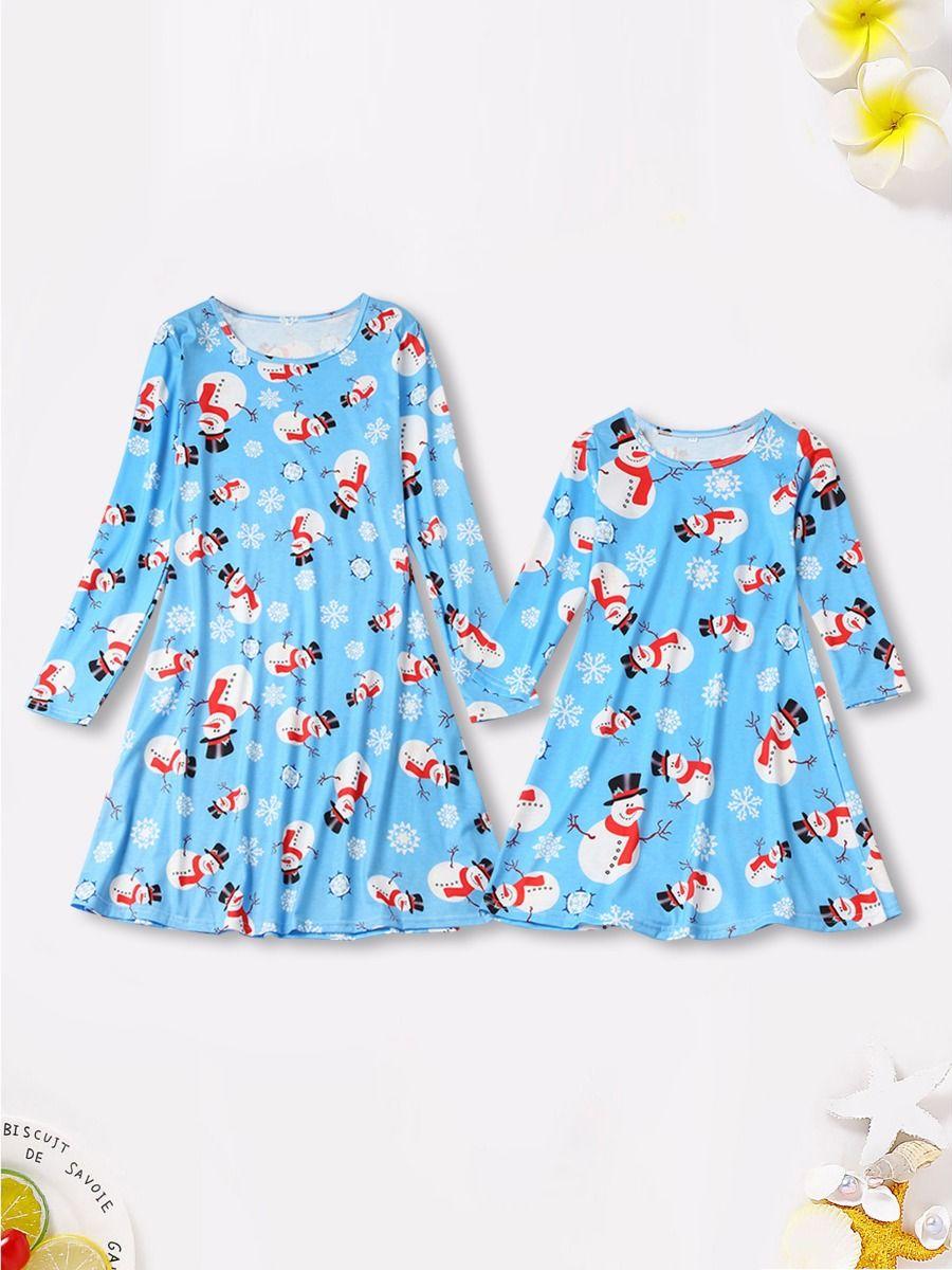 Mother And Daughter Christmas Santa & Snowflake Dress Wholesale 2021-09-13