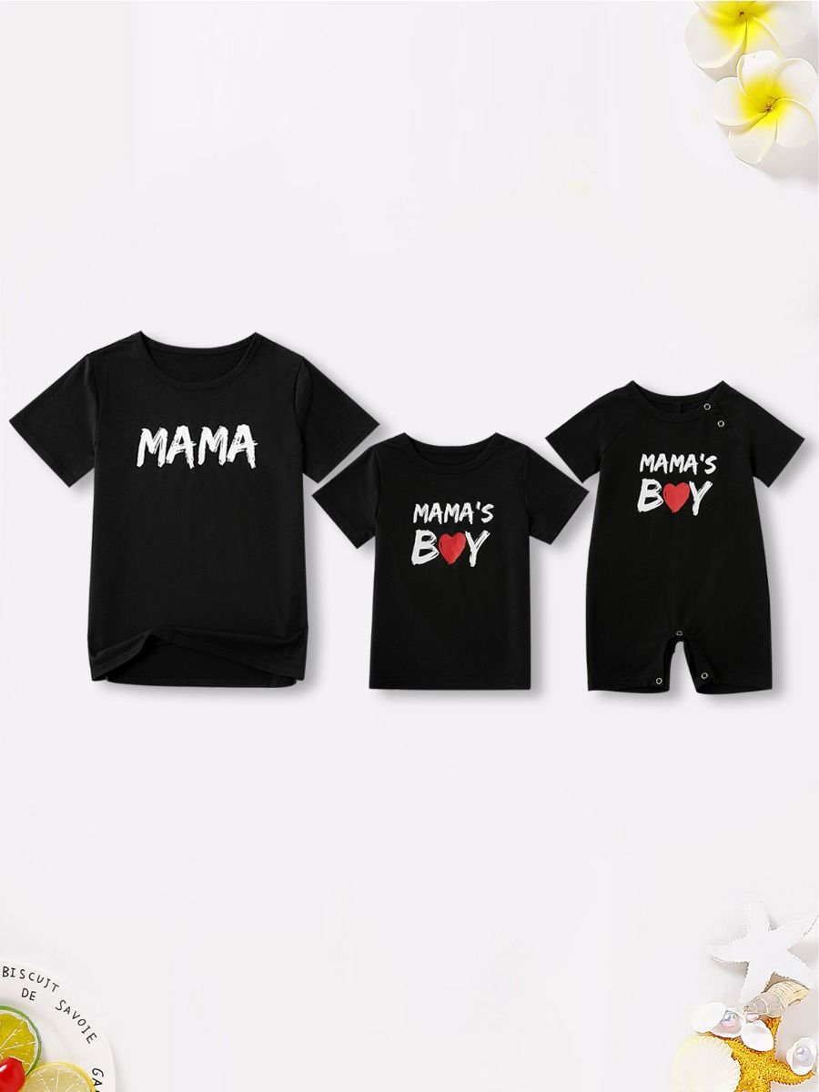 Mom and Me Black Tee Wholesale Family Matching FAMILY MATCHING 2021-09-13