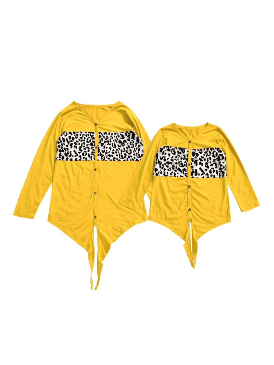 Mother And Daughter Leopard Patched Knotted T-shirt Wholesale Family Matching