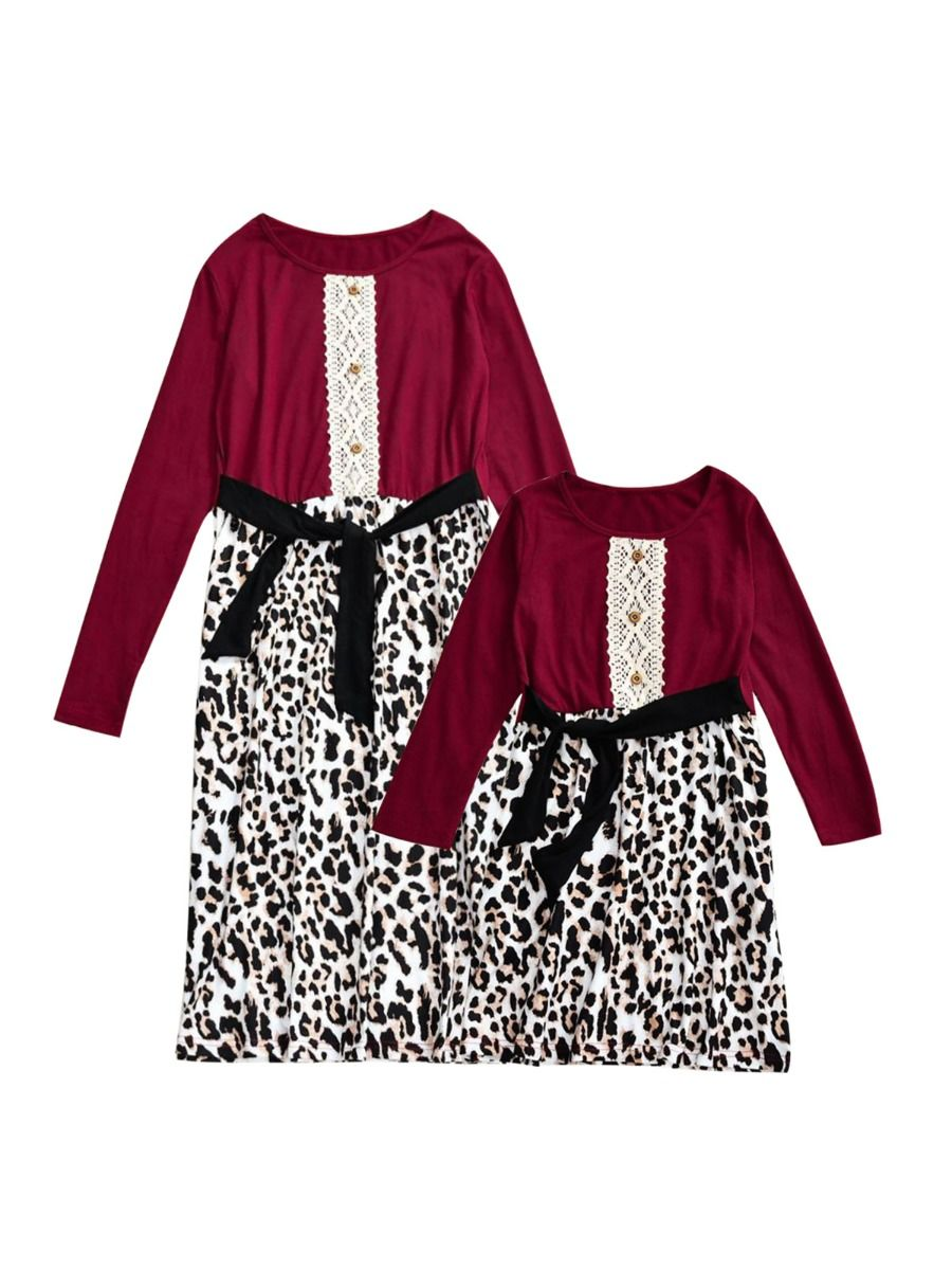 Mother And Daughter Leopard Patchwork Belted Dress Wholesale