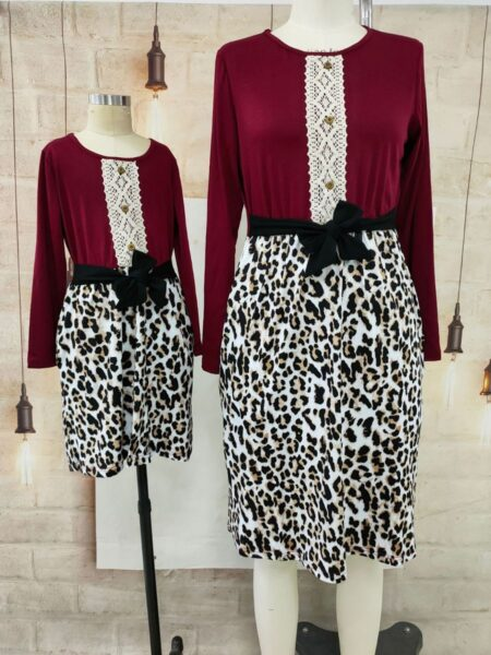 Mother And Daughter Leopard Patchwork Belted Dress Wholesale 2