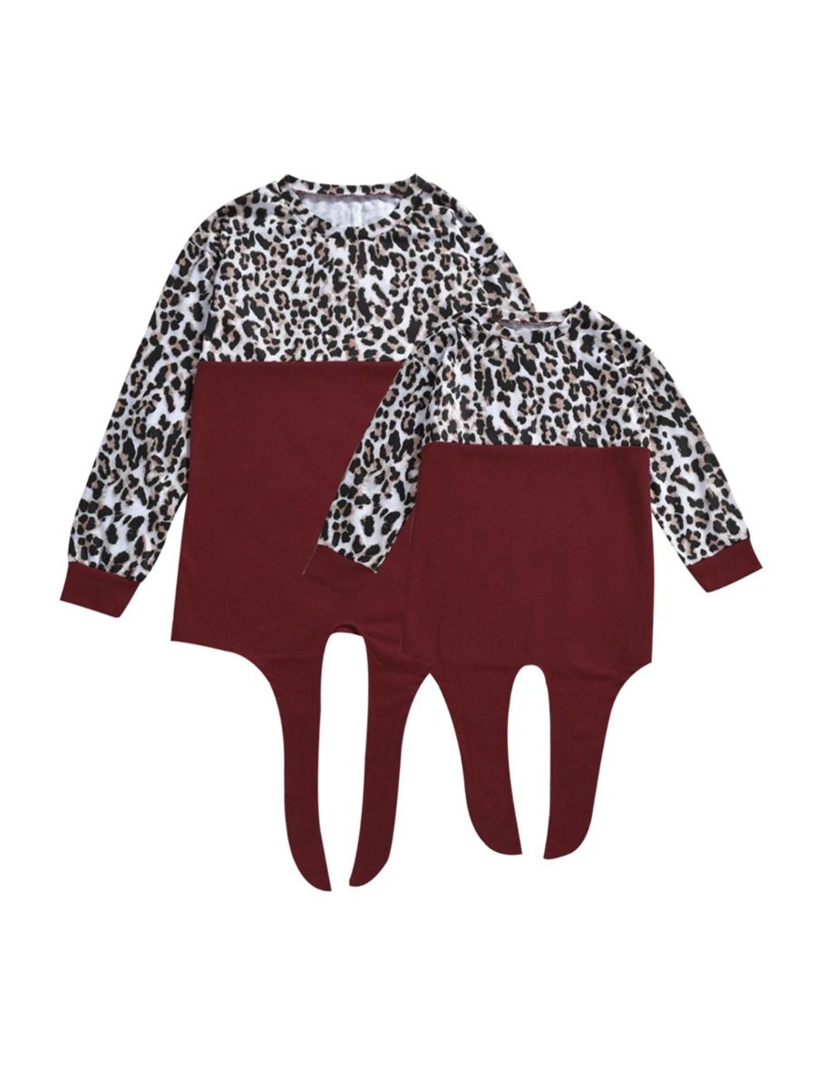Mom And Daughter Color Blocking Leopard Tie Front Top Wholesale Family Matching