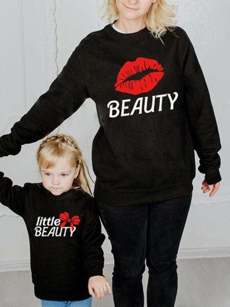 Mommy And Me Lip Beauty Sweatshirt Wholesale FAMILY MATCHING 2021-09-11