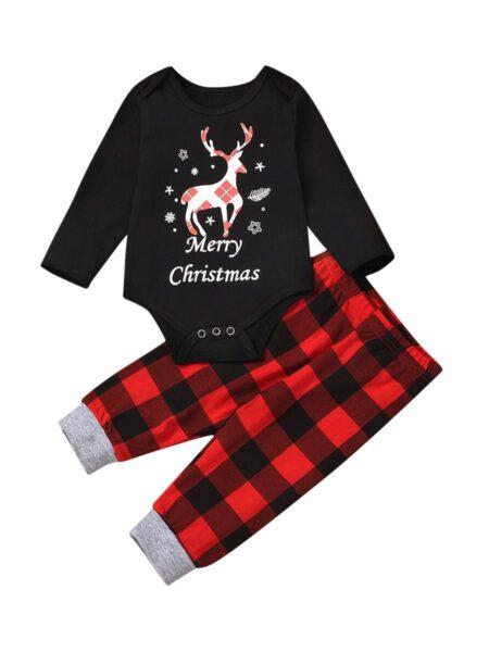 Merry Christmas Deer Plaid Family Matching Homewear Set Wholesale Family Matching FAMILY MATCHING 2021-09-11