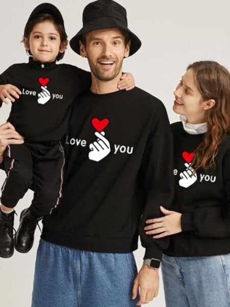 Family Matching Love You Sweatshirt In Black Wholesale FAMILY MATCHING 2021-09-10