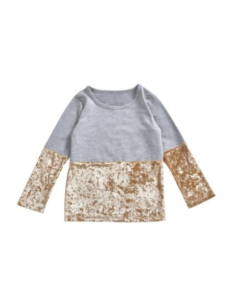 Mommy And Daughter Velvet Colorblock Top Wholesale 2