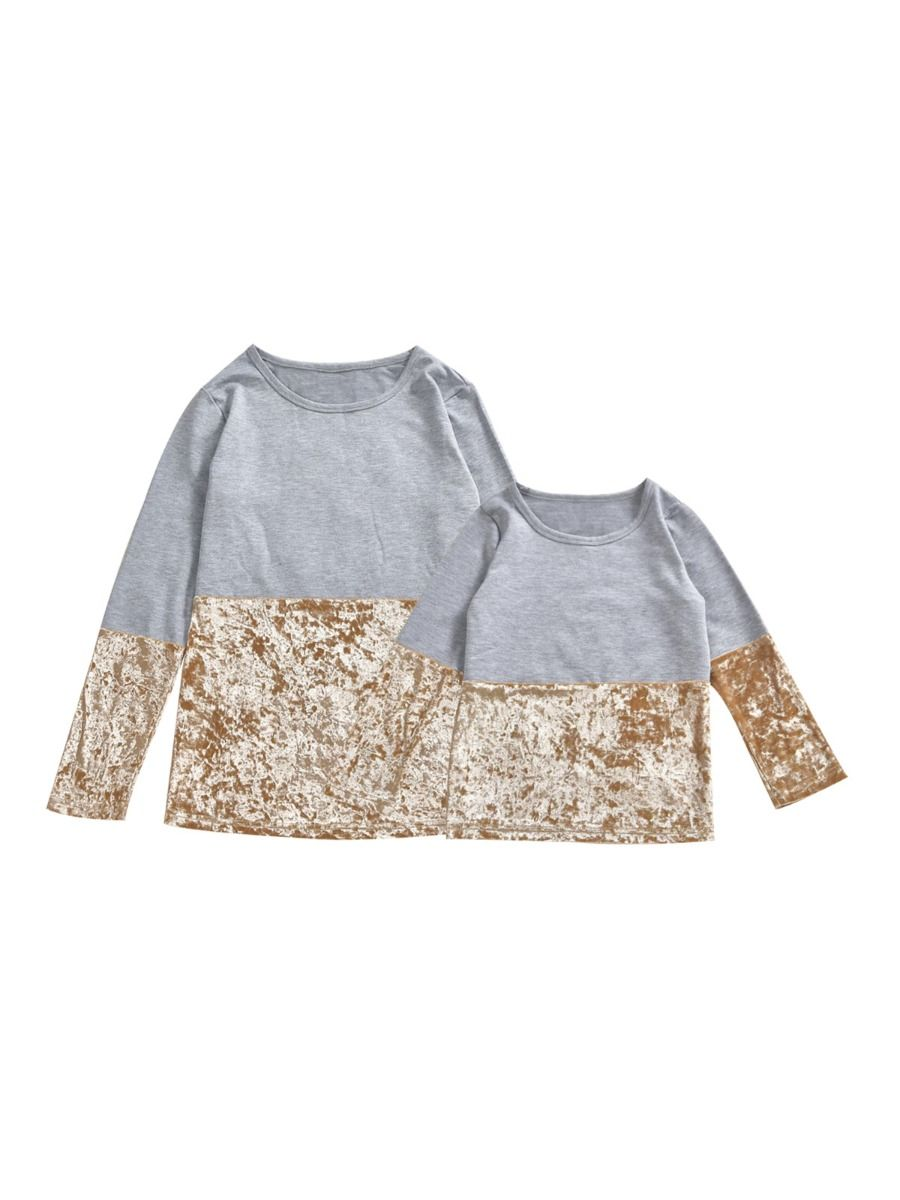 Mommy And Daughter Velvet Colorblock Top Wholesale