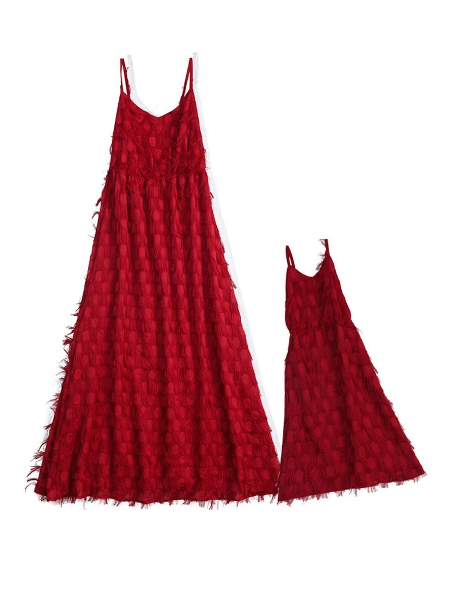 Mommy and Me Solid Color Tassel Chiffion Cami Dress Wholesale Family Matching FAMILY MATCHING 2021-09-09