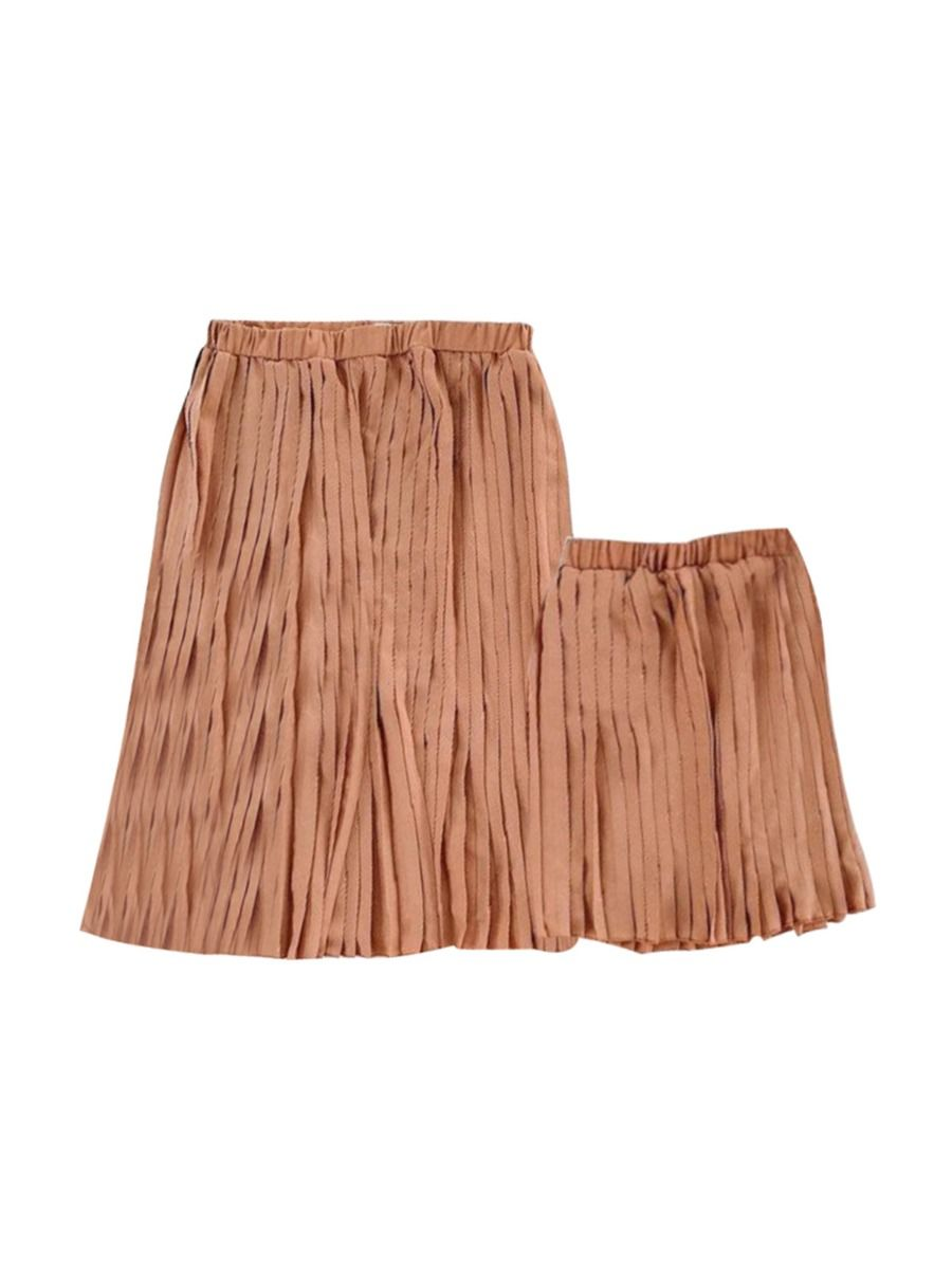 Mommy And Daughter Solid Color Pleated Skirt Wholesale Family Matching FAMILY MATCHING 2021-09-10